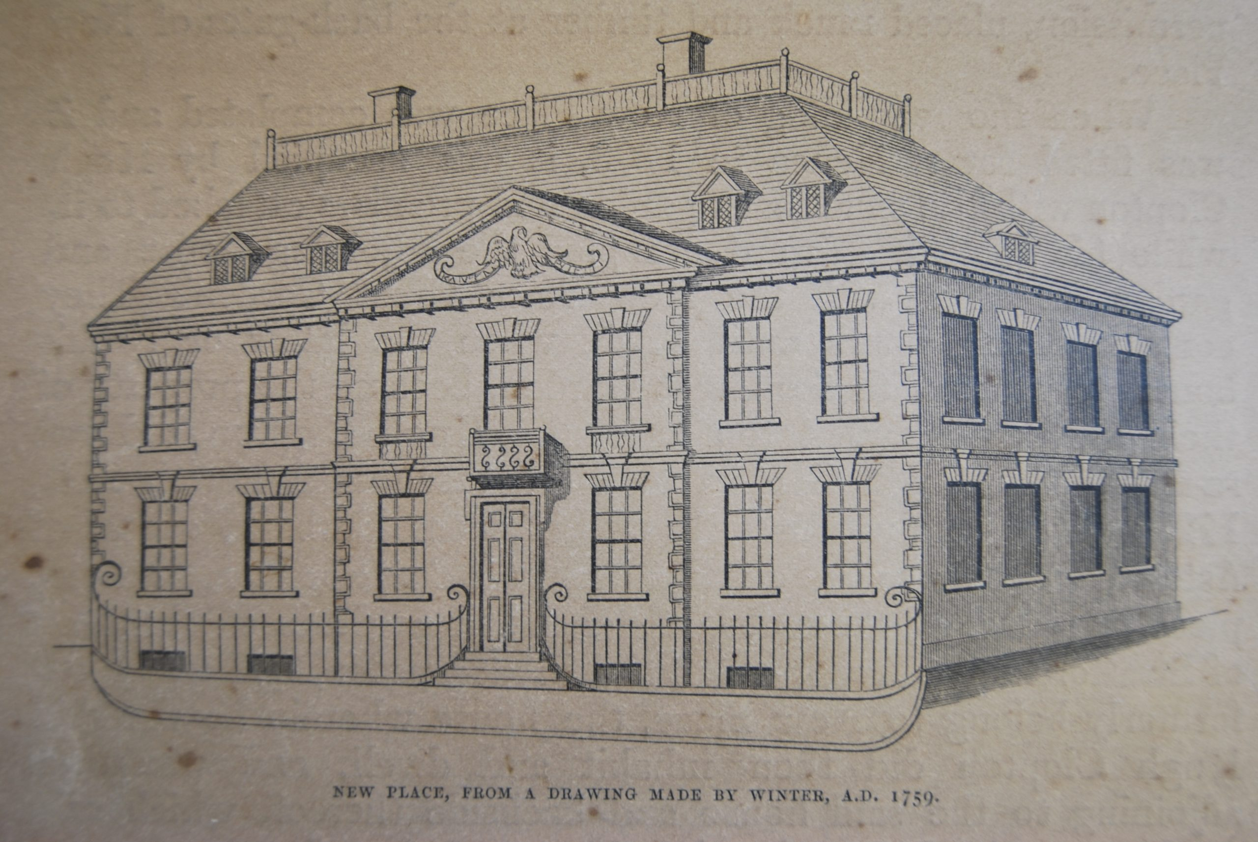 New Place. c.1759. Illustrated by Samuel Winter. Shakespeare Birthplace Trust Archives.