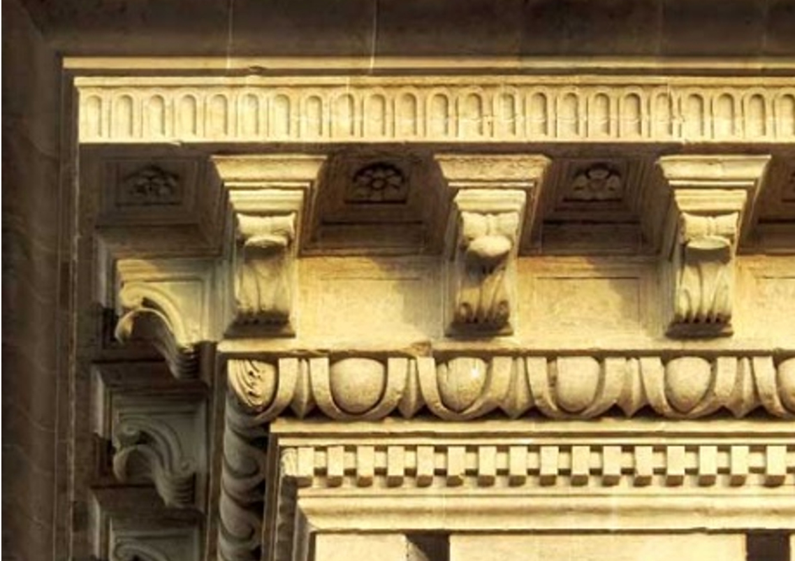 Example of external corbel/modillions in situ